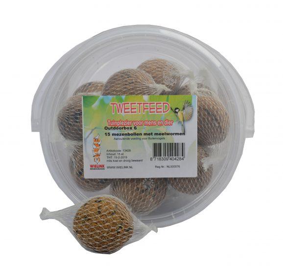 TWEETFEED Outdoorbox 15 mezenbollen met meelwormen