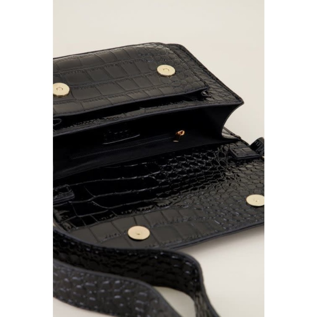 My Jewellery Schoudertas croco print zwart