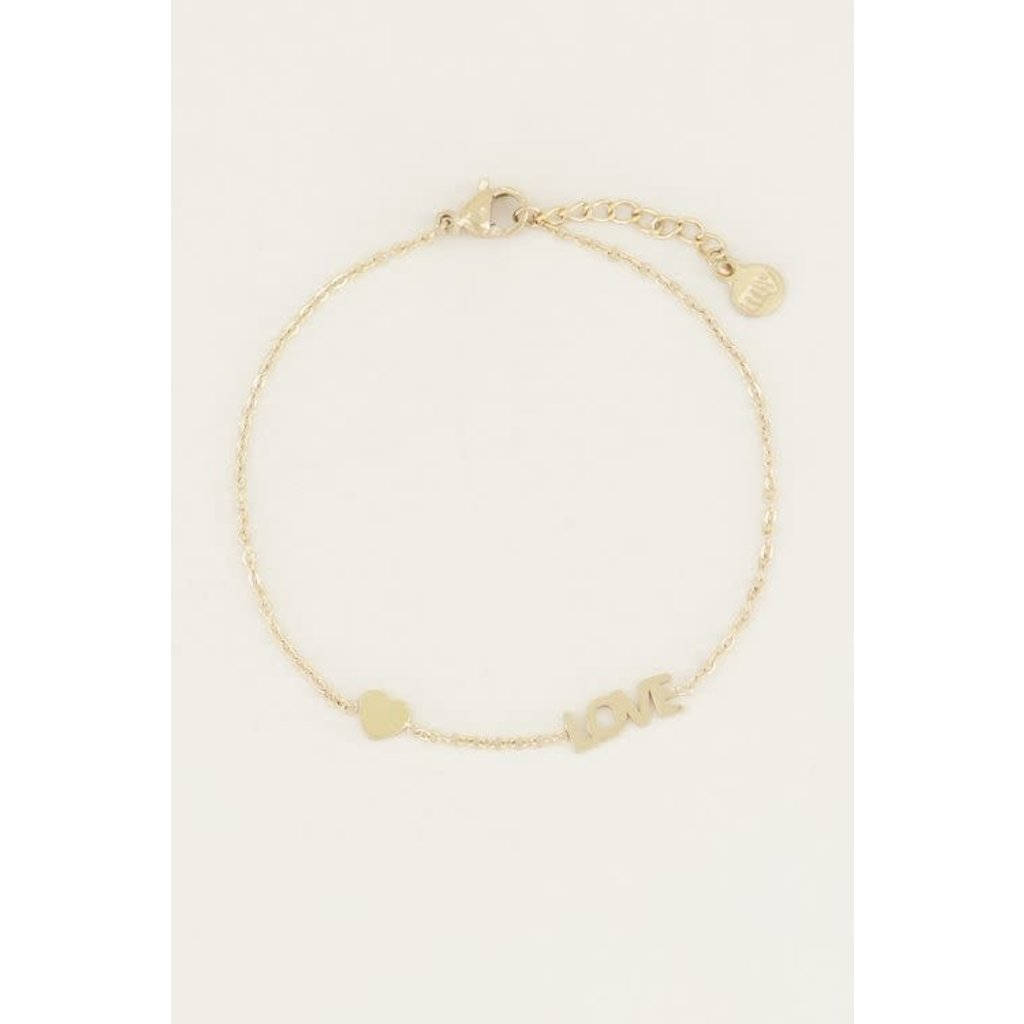 My Jewellery Armband met love en hartje goud
