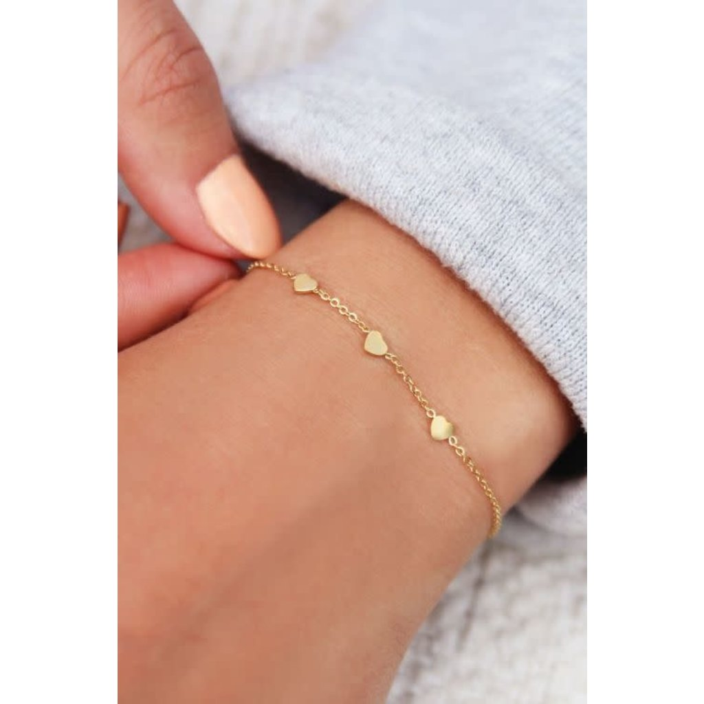 My Jewellery Armband met 3 hartjes goud