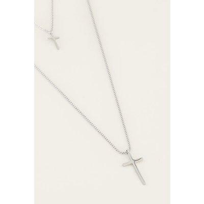 My Jewellery Dubble ketting kruisjes zilver