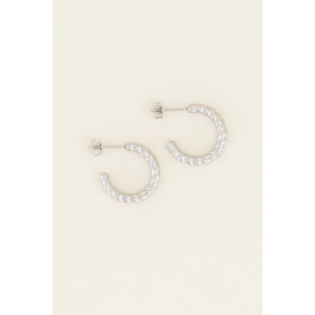 My Jewellery Oorringen gedraaide bolletjes zilver