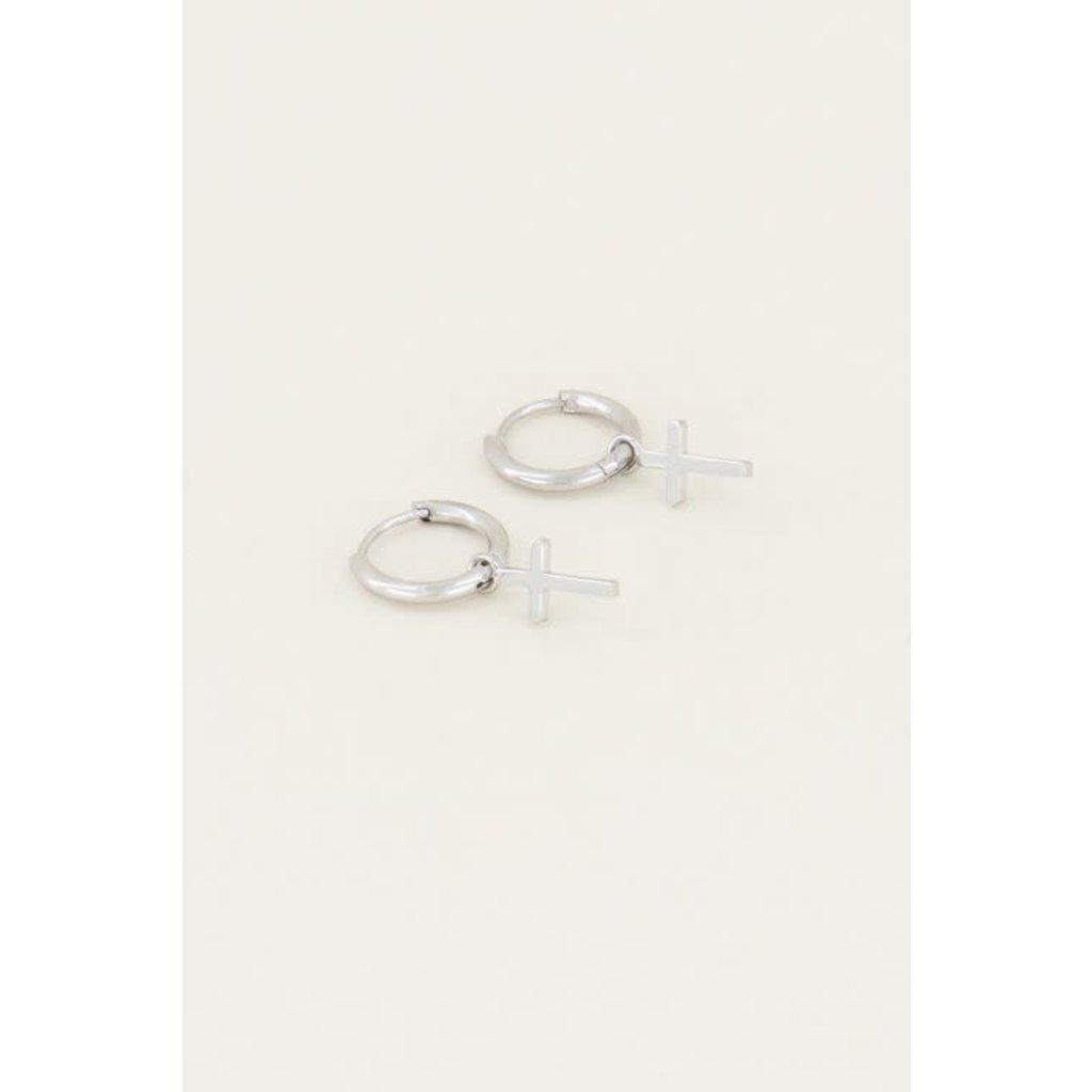My Jewellery Oorringen met kruisje zilver