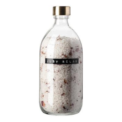 Wellmark Badzout in glazen pot - rozen - messing 'Just relax'