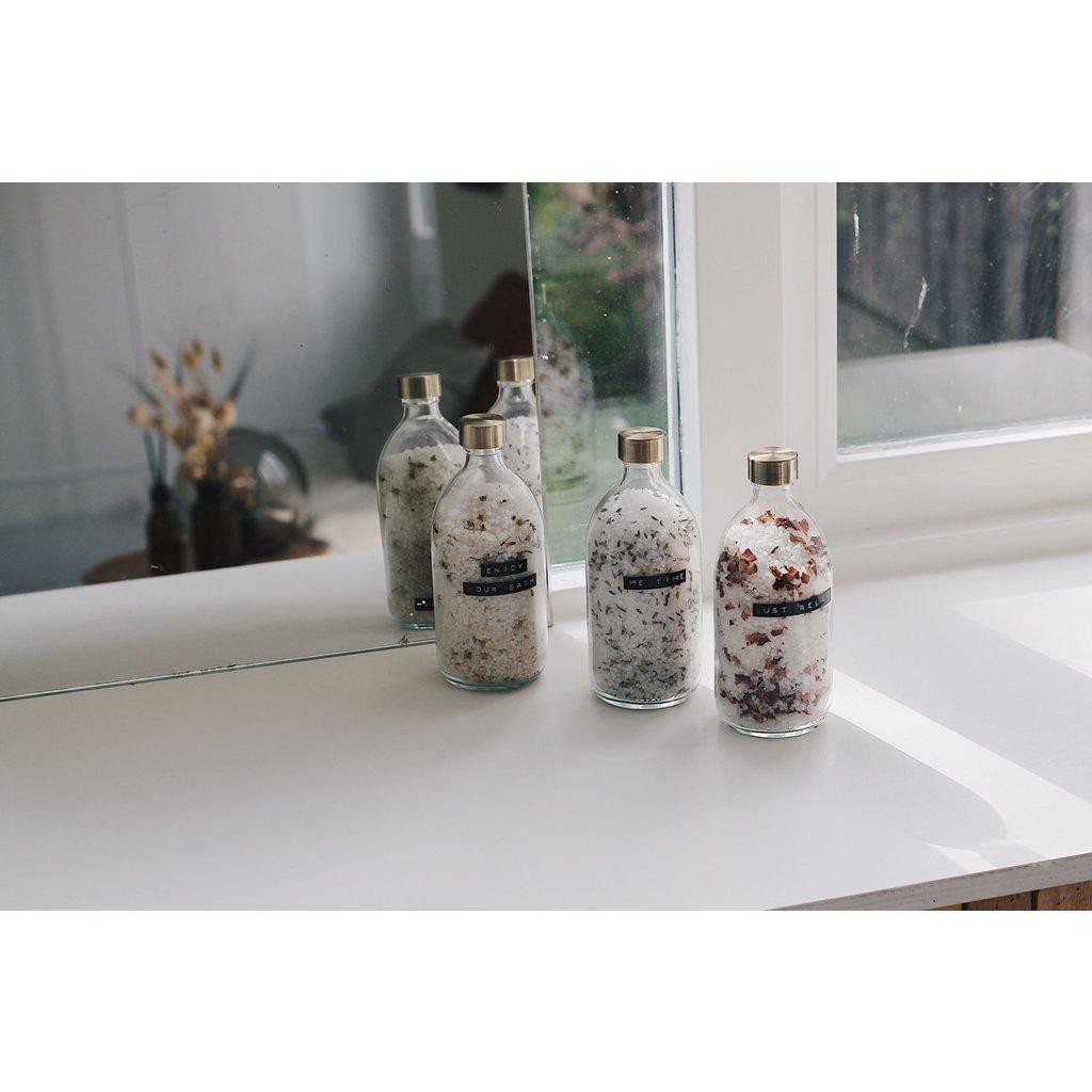 Wellmark Badzout in glazen pot - kamille- messing 'enjoy yor bath'