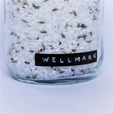 Wellmark Badzout in glazen pot - lavendel - messing 'me time '