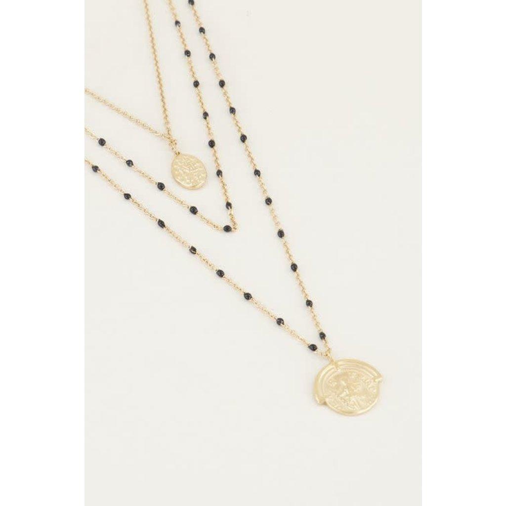 My Jewellery Driedubbele ketting muntjes en kraaltjes