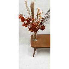 Boeket droogbloemen: rood-oranje, roest, beige