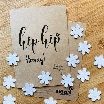 Bloom your message Bloeikaart: Hooray