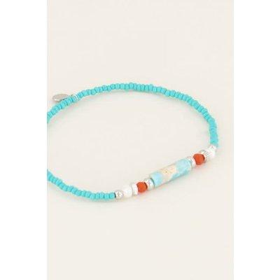 My Jewellery Armband blauwe kralen zilver