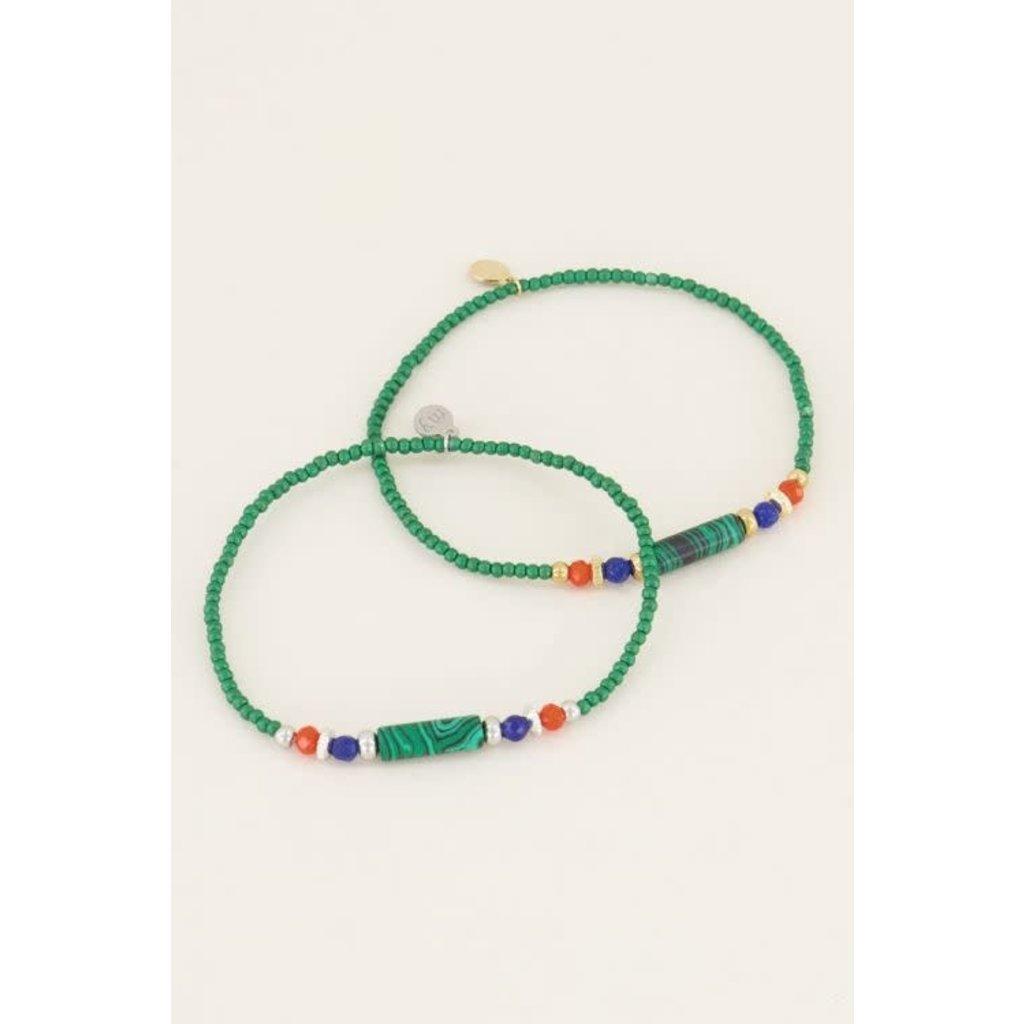 My Jewellery Armband groene kralen goud