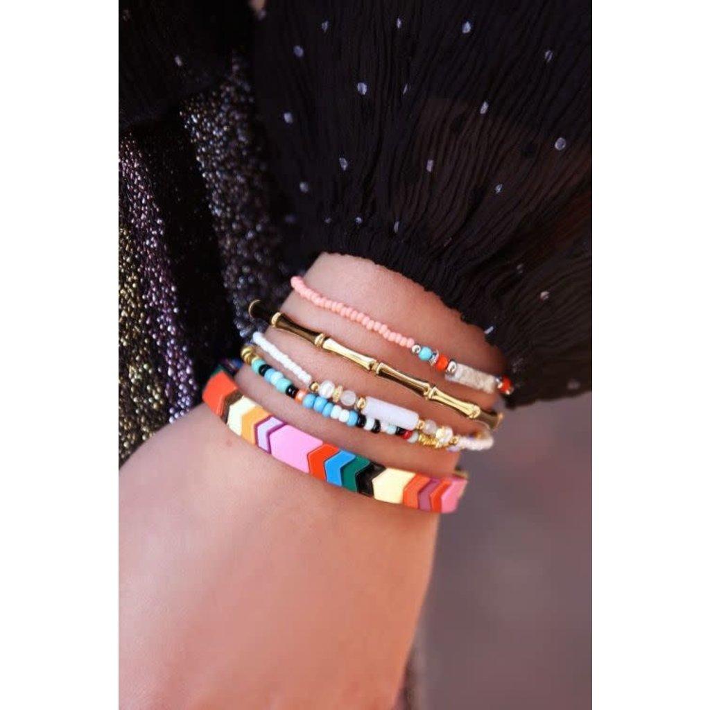 My Jewellery Armband roze kralen goud
