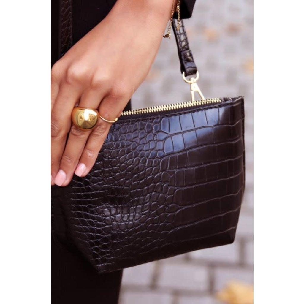 My Jewellery Schoudertasje slangenprint zwart