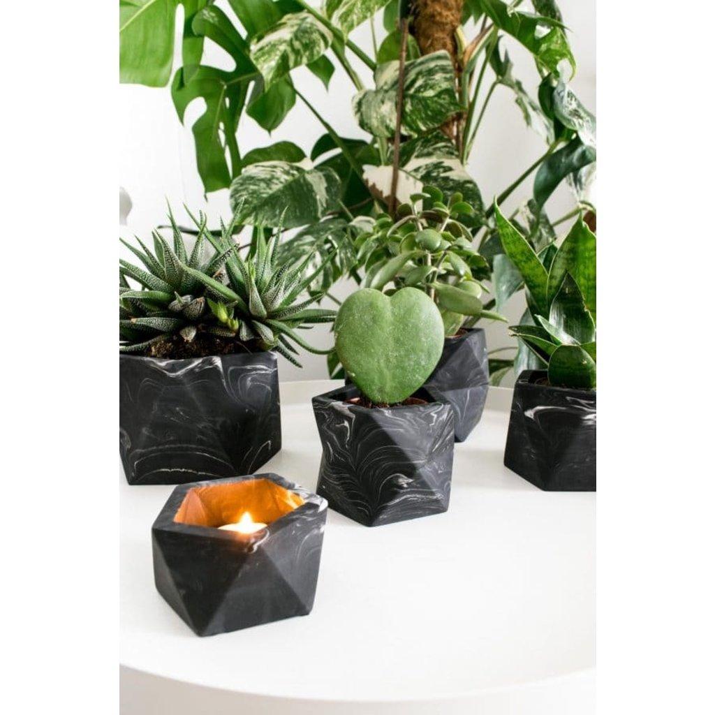 House Raccoon Palua Planter, Theelichthouder Ø 8,5 cm - Black Marble