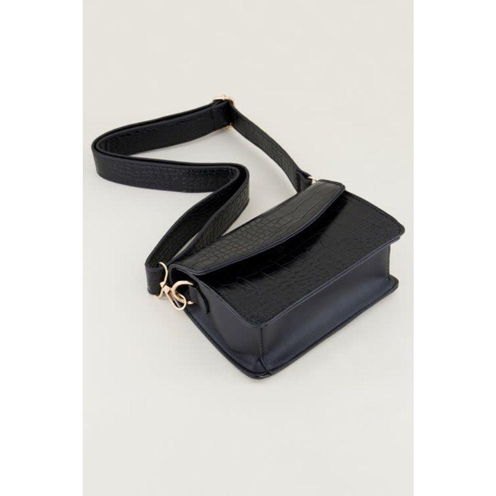 My Jewellery Zwarte schoudertas slangenprint brede band