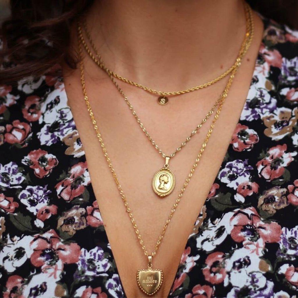My Jewellery Goud kleurige ketting met initiaal vintage