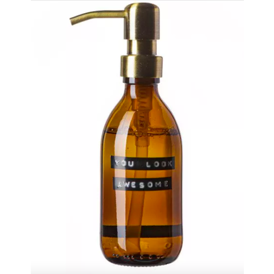 Wellmark Handzeep  - bruin glas/messing -  You look awesome 250 ml