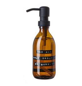 Wellmark Handzeep- bruin glas/zwart - May all your troubles be bubbles- 250 ml