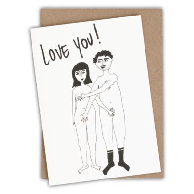 HelenB Wenskaart | love you naked couple