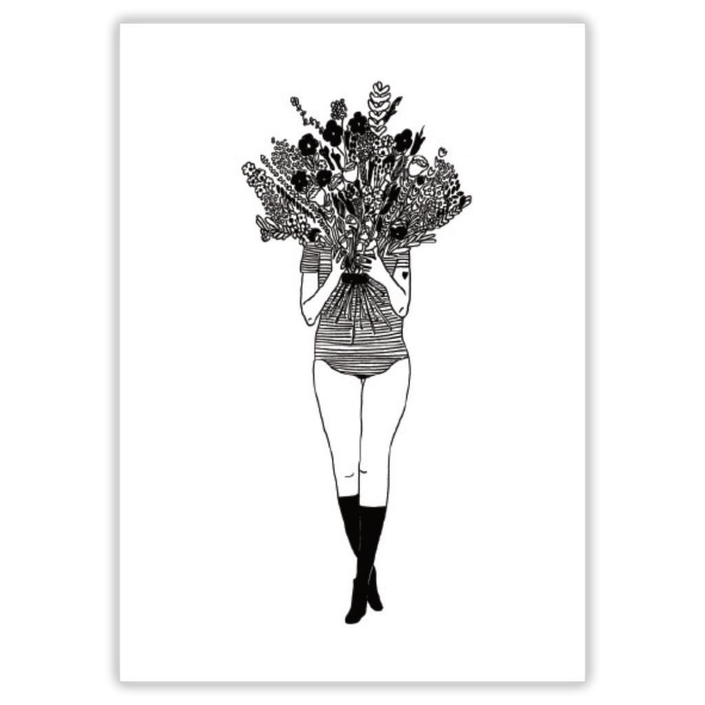 HelenB Postkaart |  flower girl
