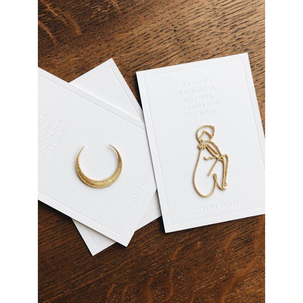 Petit Pourri Letterpress wenskaart Moon