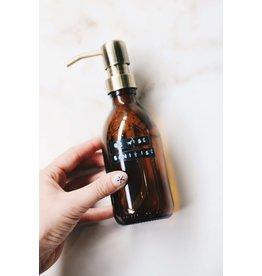 Wellmark Hygiënische handgel - bruin glas messing- 250 ml - 'Be wise sanitize'
