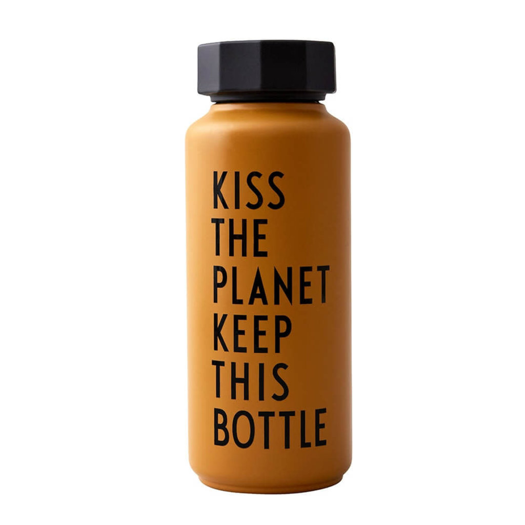 Design Letters Thermo/Geïsoleerde fles, Special Edition Kiss Oker