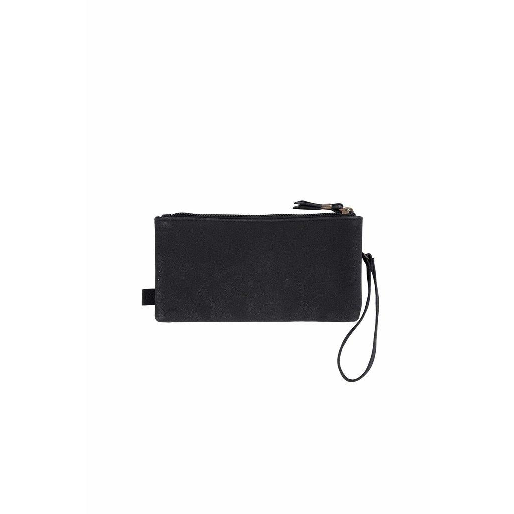 Zusss Dubbele portemonnee mat zwart