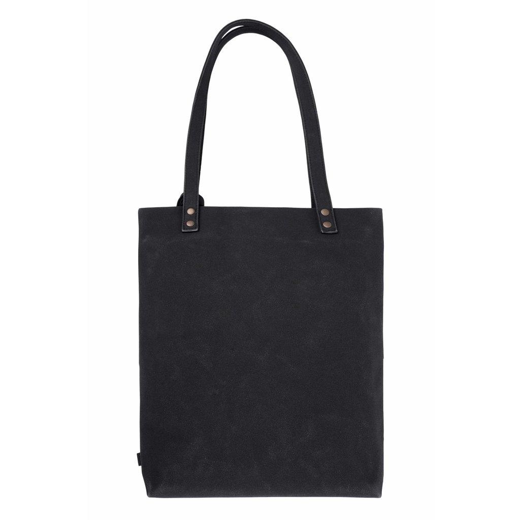 Zusss Basic shopper met kwast mat zwart