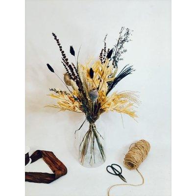 Droogbloemen boeket beige-zwart-bruin