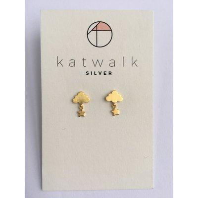 Katwalk Silver Oorbellen wolkje/sterretje goud