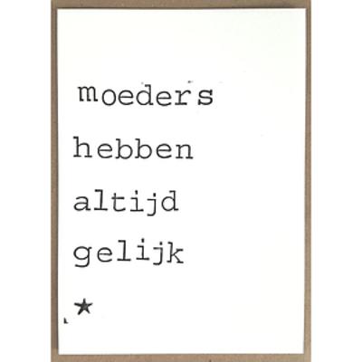 Postkaarten By Mar Moeders hebben altijd gelijk