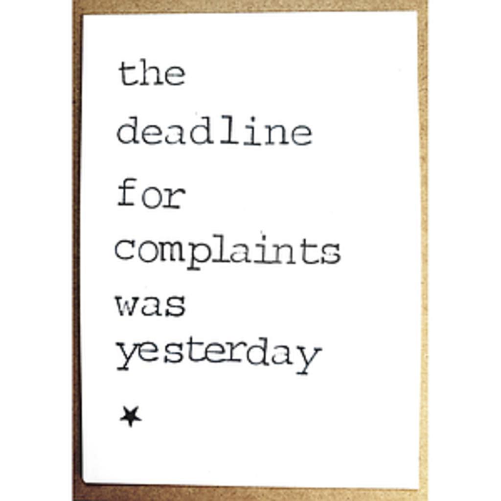 Postkaarten By Mar The deadline for complaints
