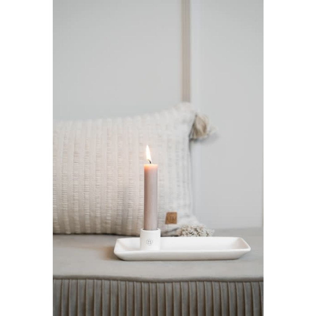 Zusss Kandelaar met blad keramiek wit