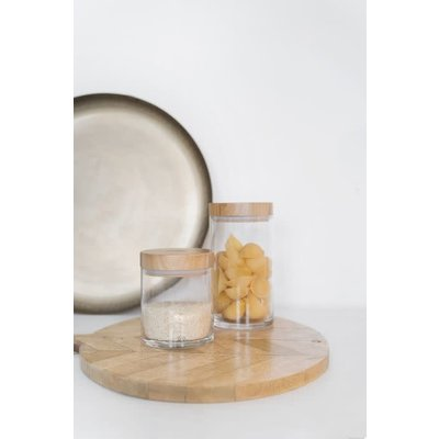 Zusss Voorraadpot met houten deksel L good day glas