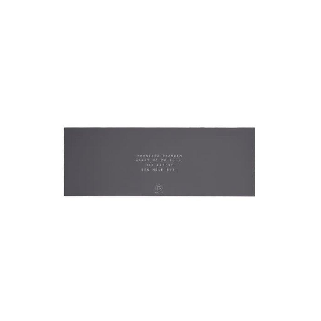 Zusss Set van 4 glaskaarsjes met tekst grafietgrijs
