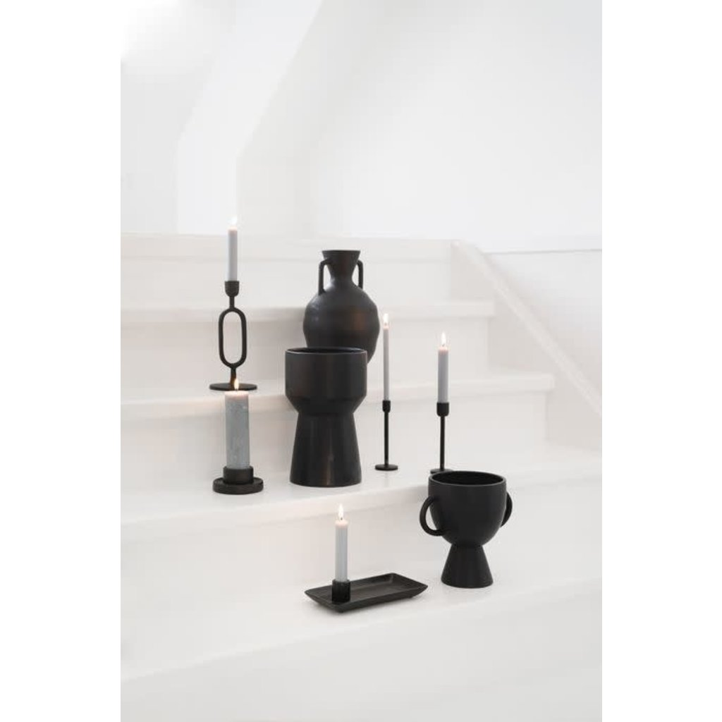 Zusss Moderne vaas keramiek ø16x27cm zwart