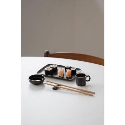 Zusss Set sushi servies aardewerk zwart