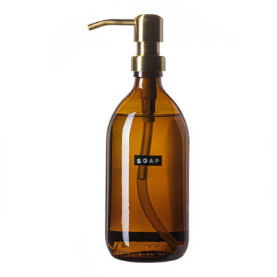 Wellmark Handzeep bamboe bruin glas messing pomp 500ml 'soap'