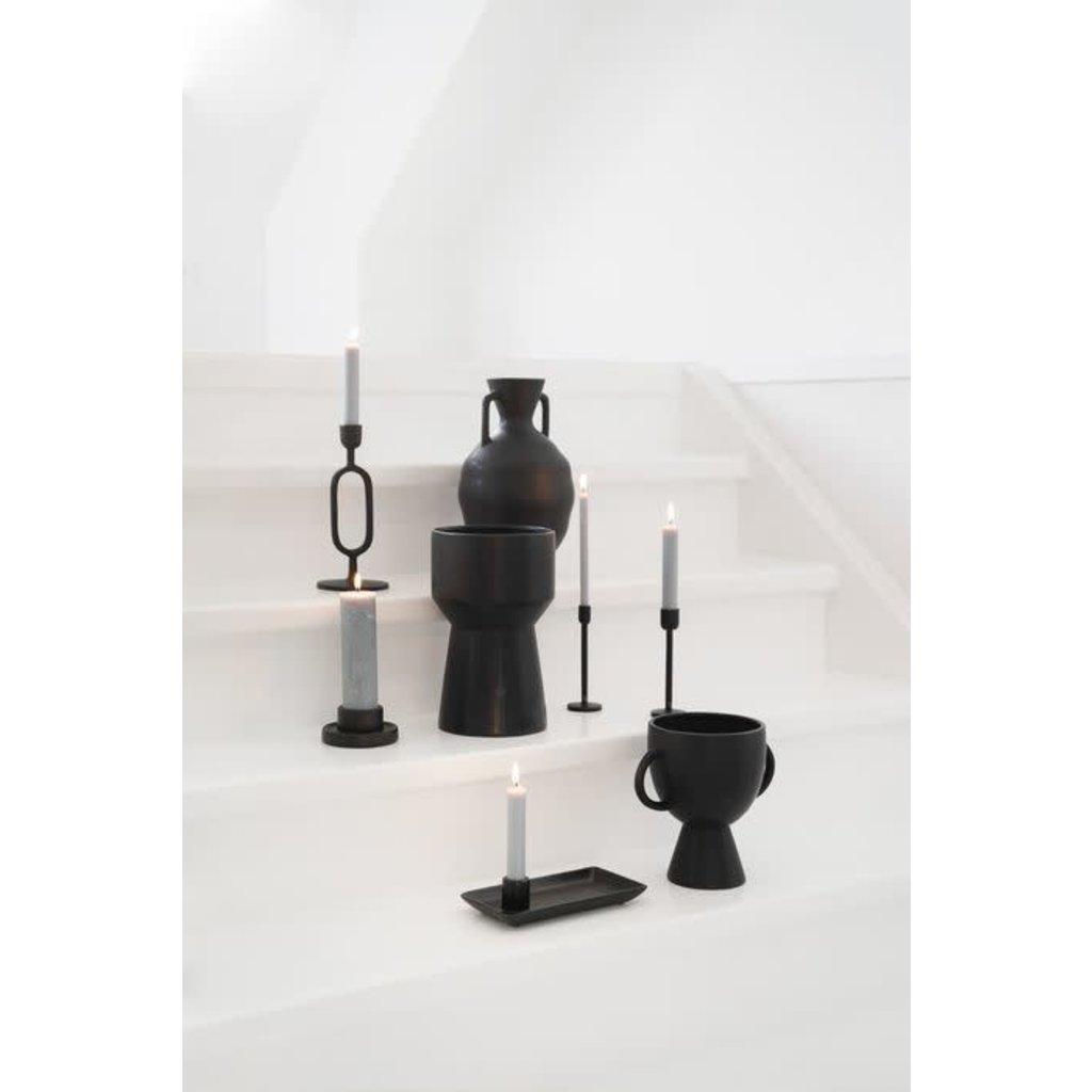 Zusss Bloempot met handvatten keramiek zwart