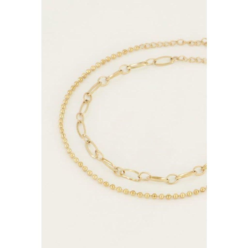 My Jewellery Armbanden set bolletjesschakels goud