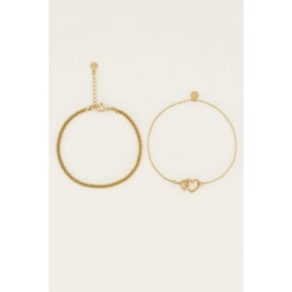 My Jewellery Armbanden set hartjeschakels goud
