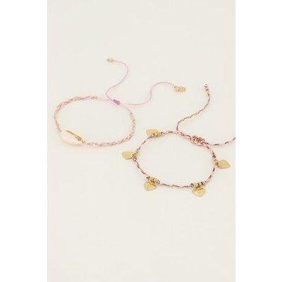 My Jewellery Armbanden set schelp & hartjes goud