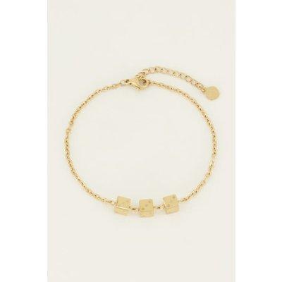 My Jewellery Armband drie dobbelsteentjes goud