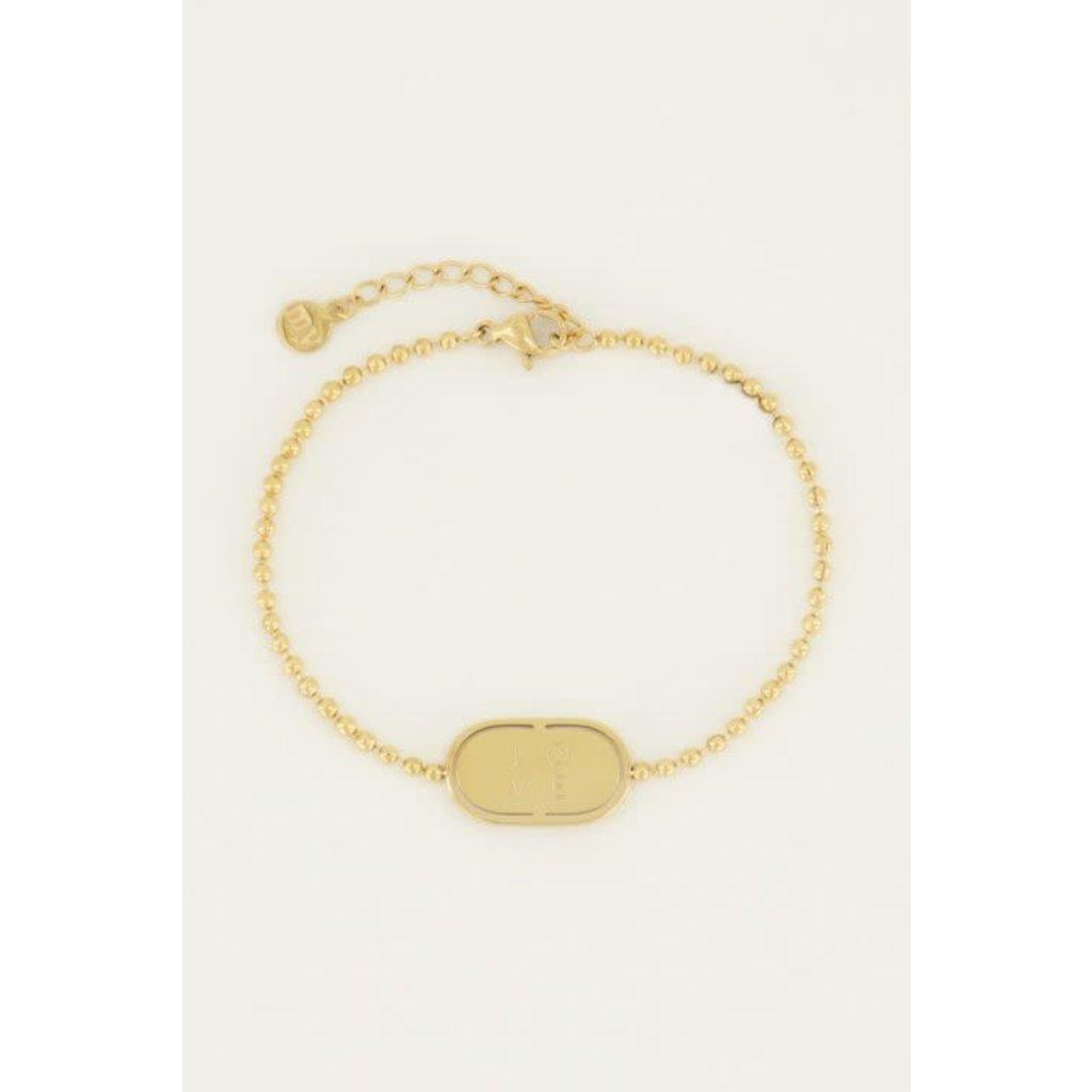 My Jewellery Armband love plaatje goud