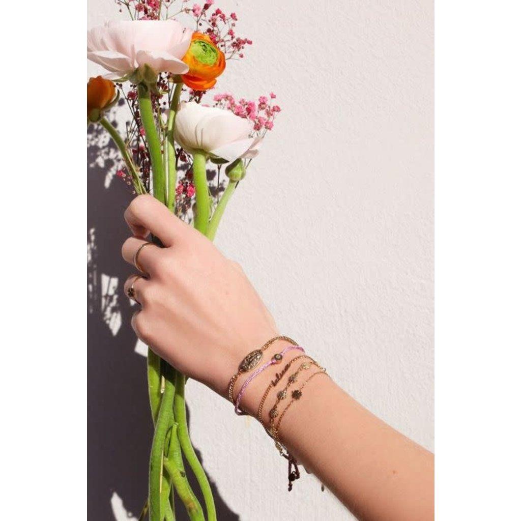My Jewellery Touw armband klavertje goud