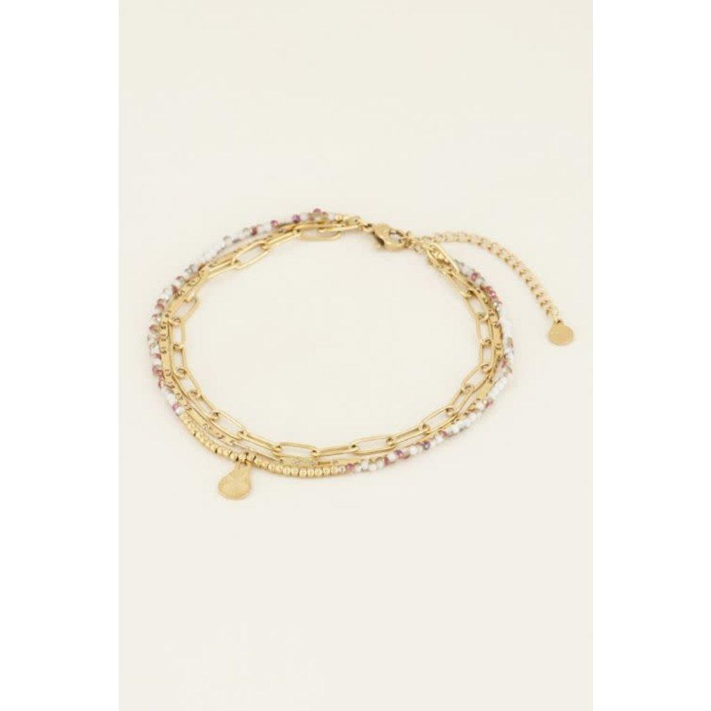 My Jewellery Drielaags enkelbandje goud