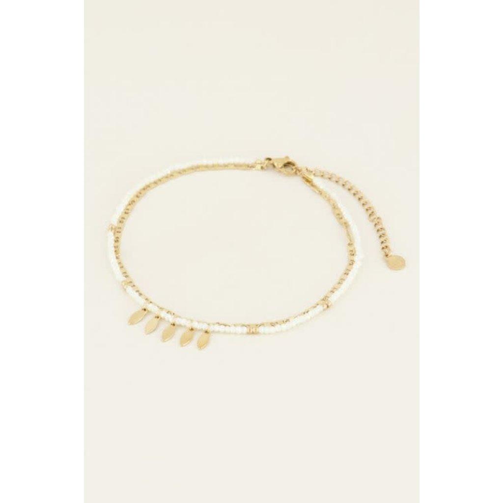My Jewellery Enkelbandje kralen & veertjes goud