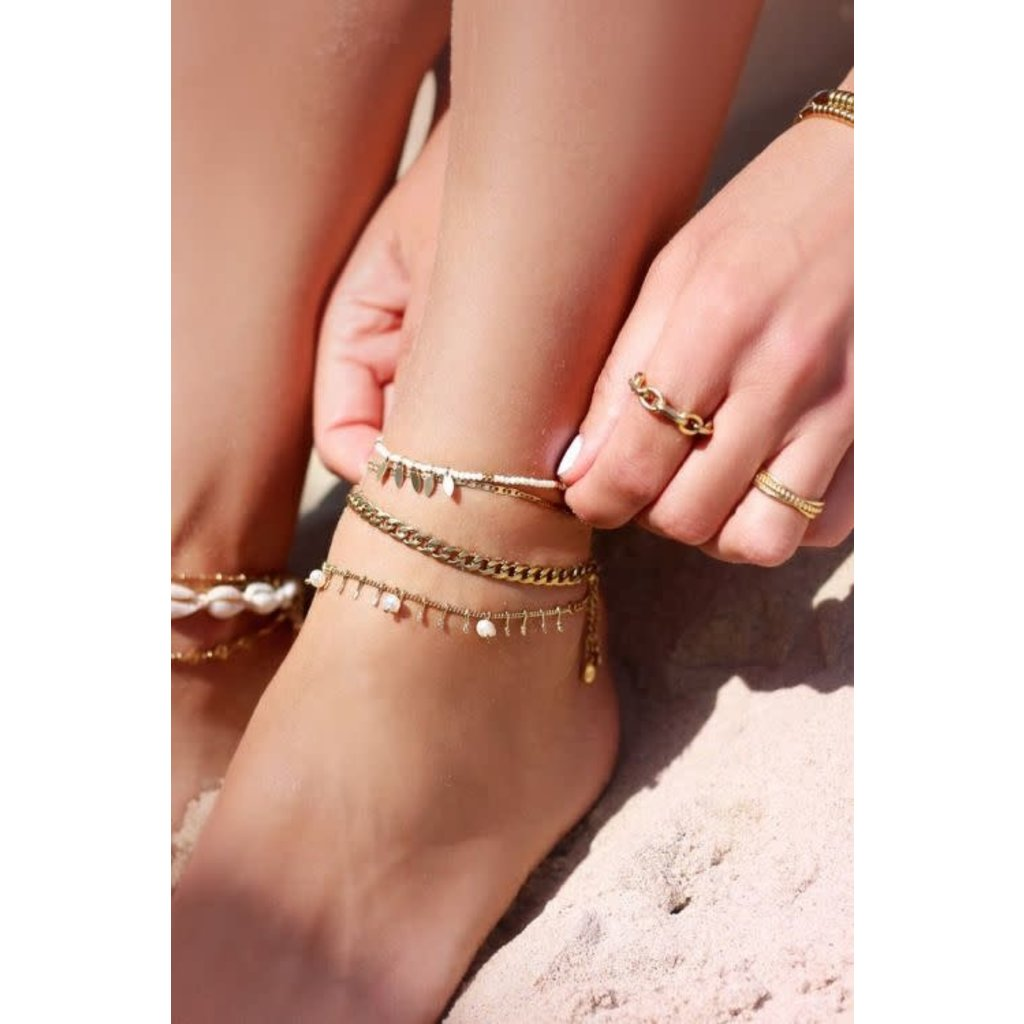 My Jewellery Enkelbandje staafjes & parels goud