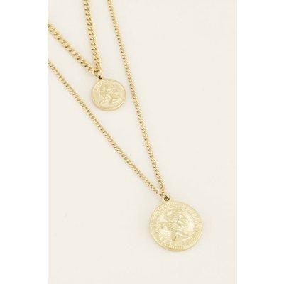 My Jewellery Dubbele Ketting Twee Muntjes goud